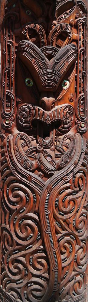 Skulptur im Maori-Kulturzentrum Rotorua